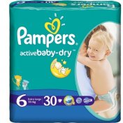 PAMPERS ACTIVE BABY -DRY Extra Large (15+) 30 szt.