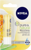 NIVEA PURE&NATURAL Pomadka ochronna Milk & Honey 4,8 g